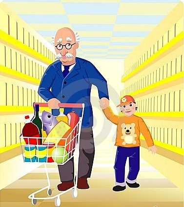 grand-père au shopping/grandfather shopping !